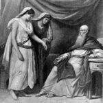 """""""Abraham, Sarah und Hagar"""", Illustration aus einer Foster-Bibel von 1897"""